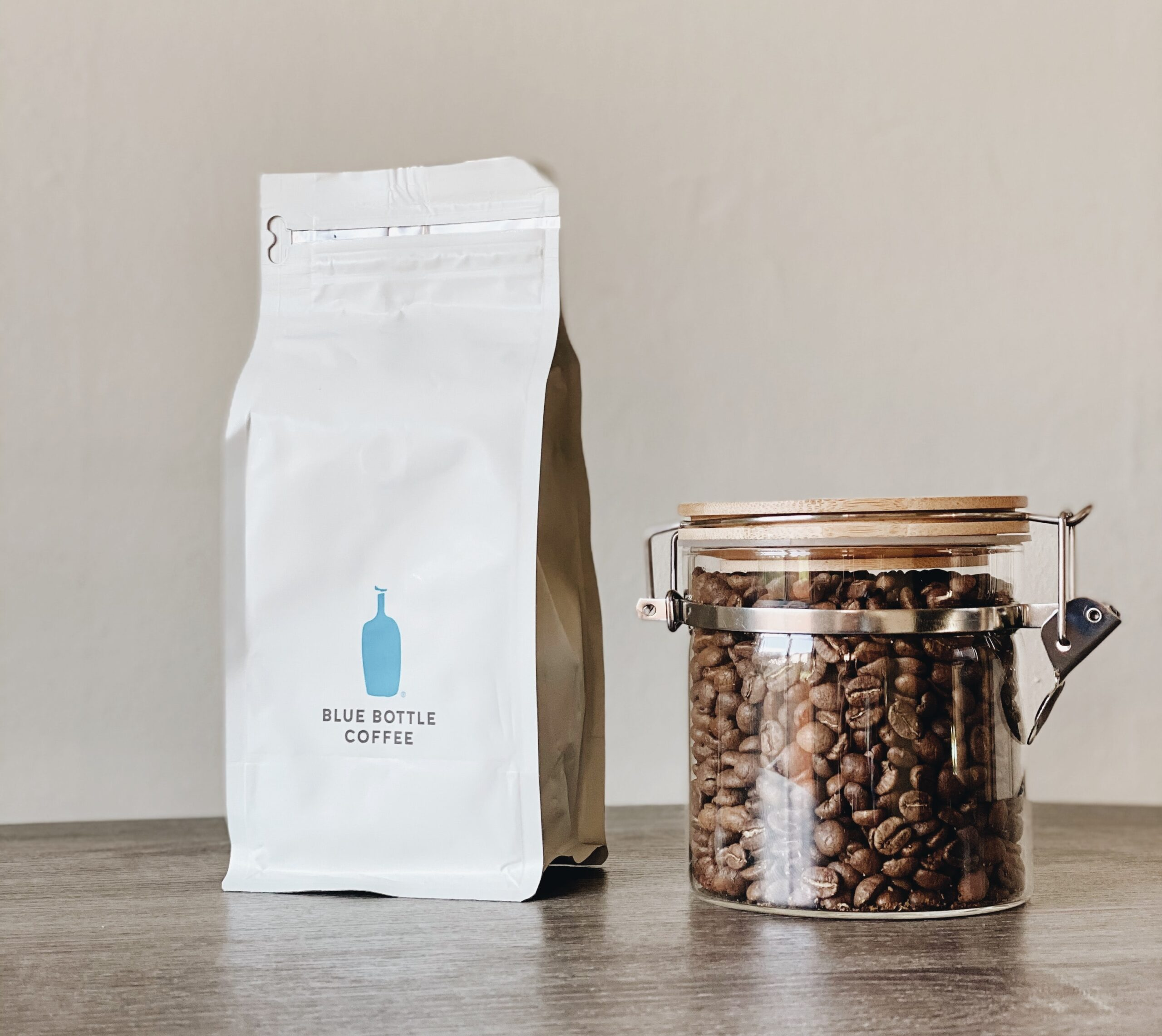 a bag of coffee beans on the table