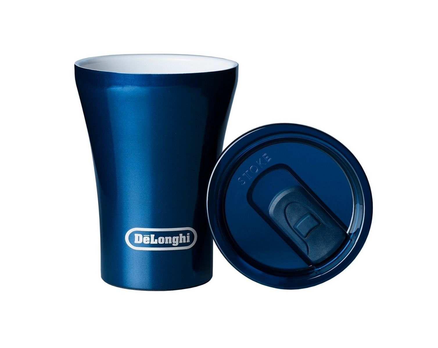a blue reusable coffee cup