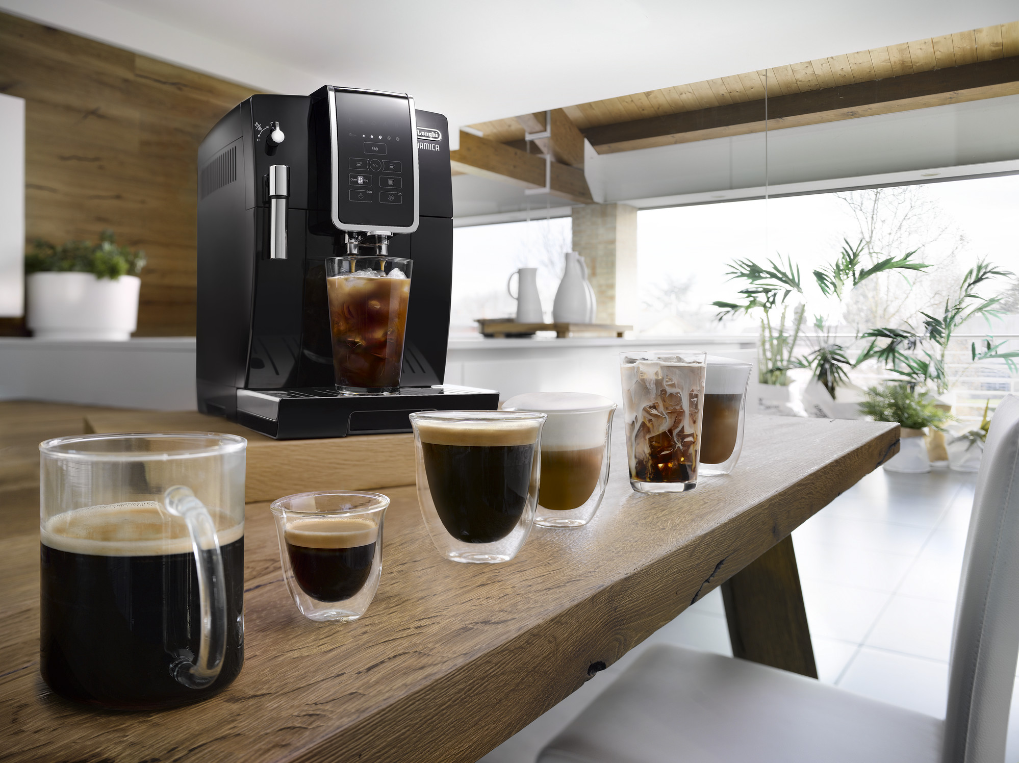 a coffee machine and various coffee beverages