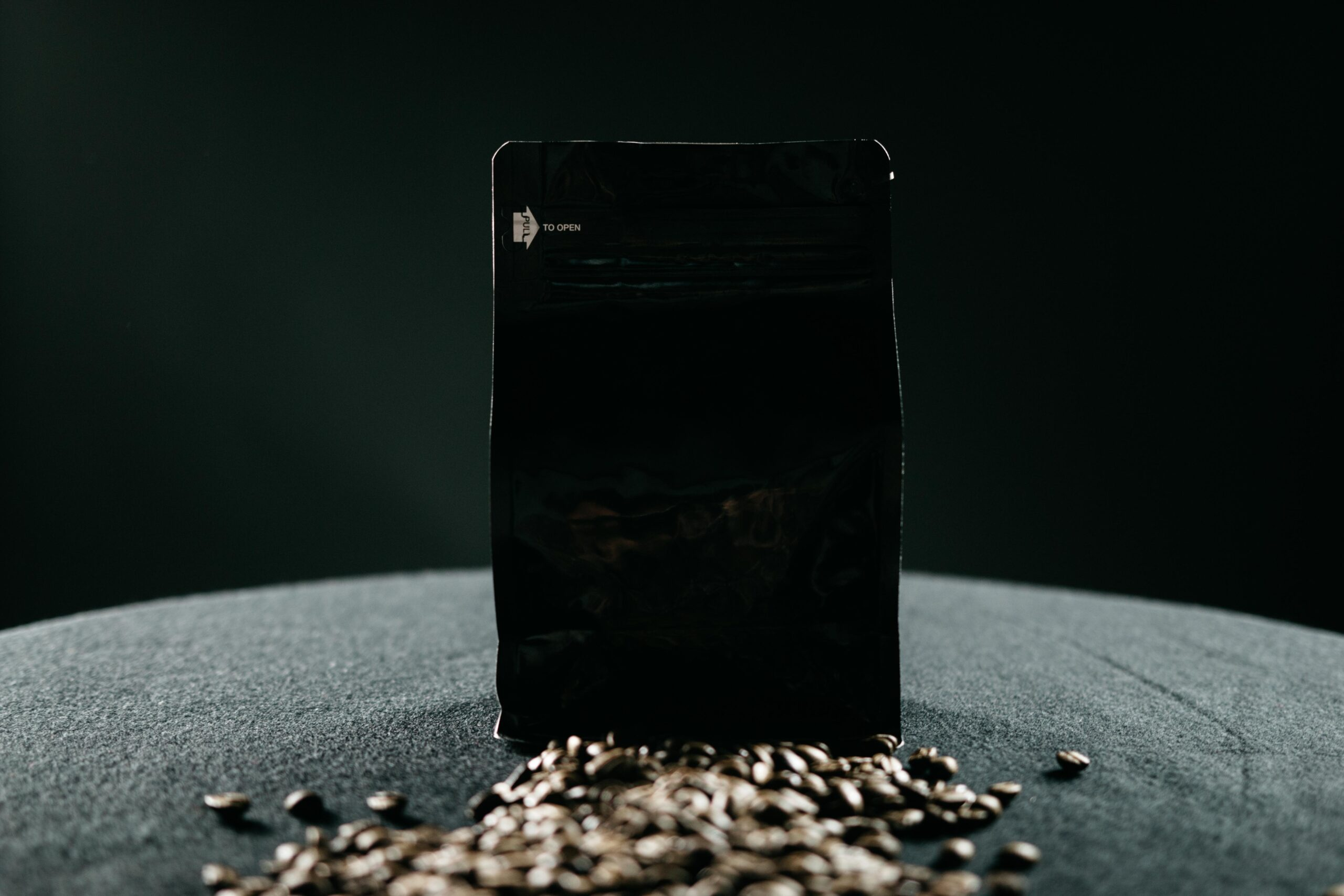a bag of coffee beans