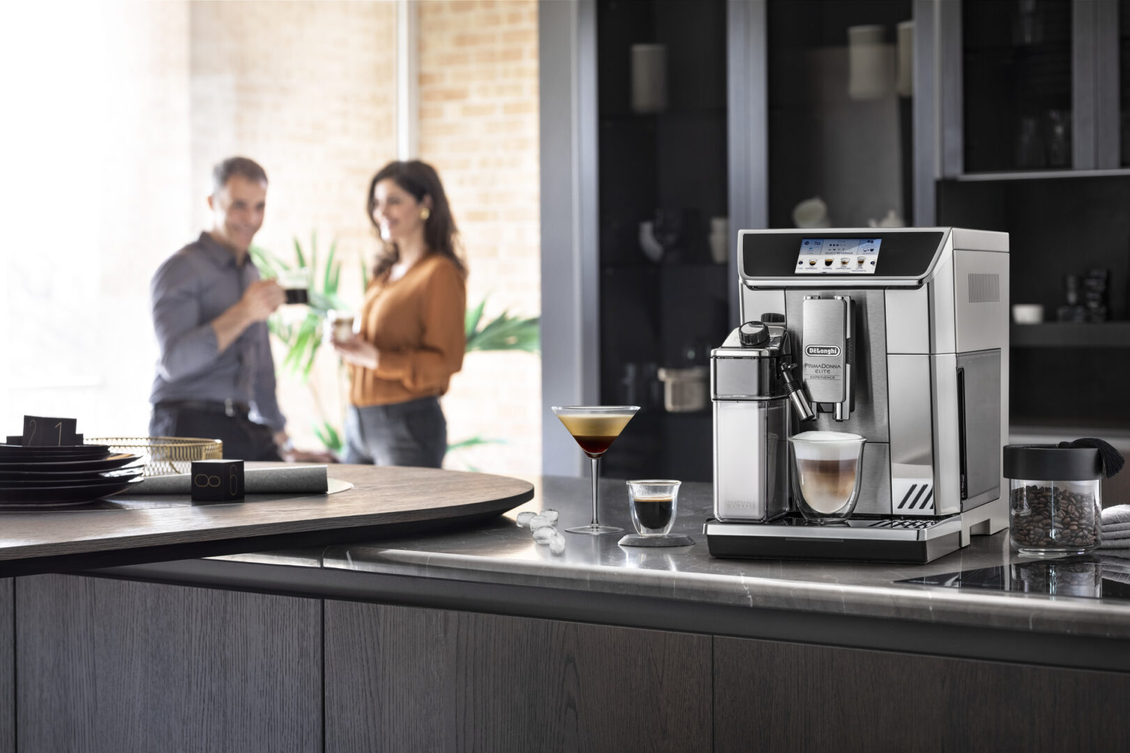 a coffee machine placed on a kitchen countertop