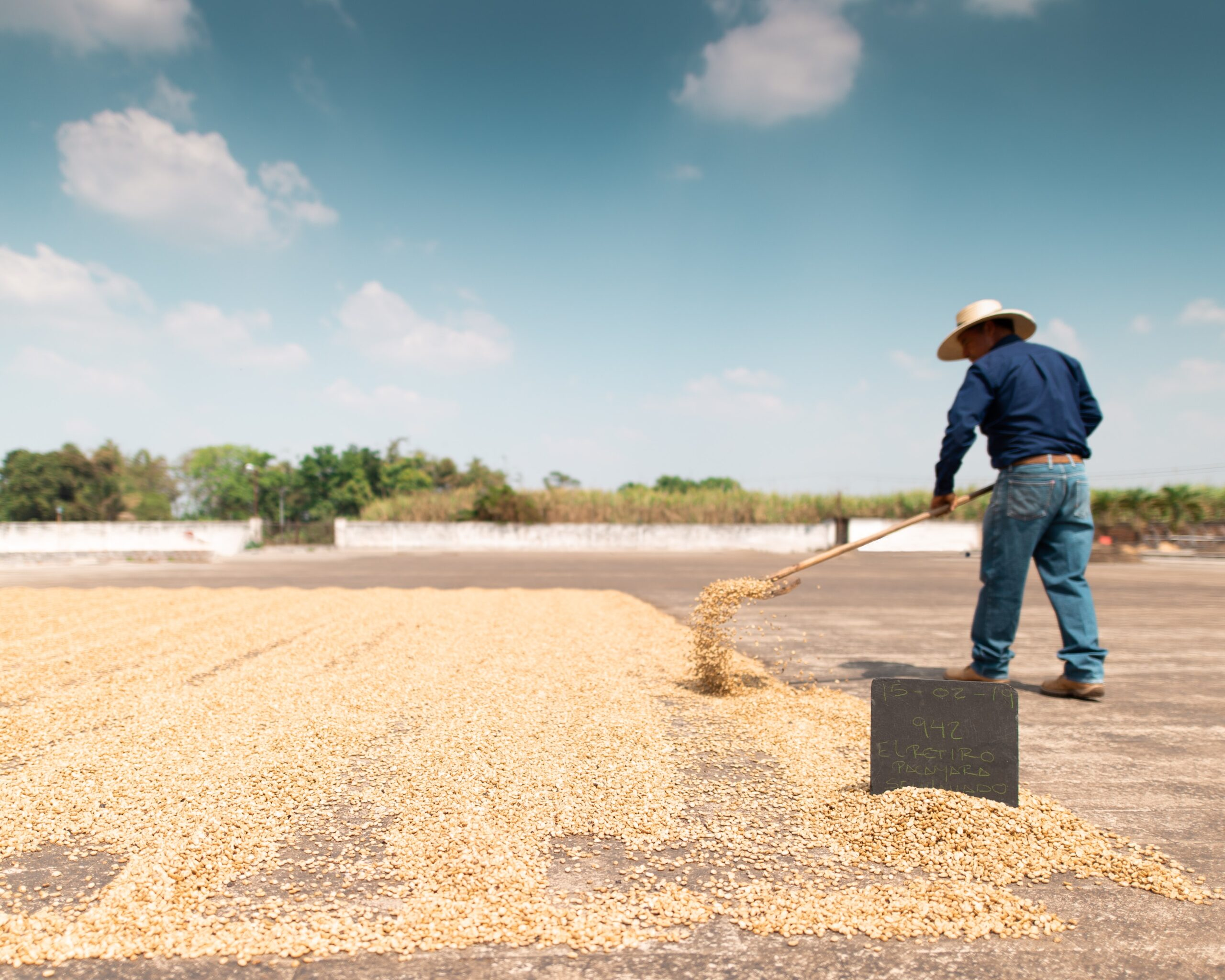 a man milling coffee under the sun